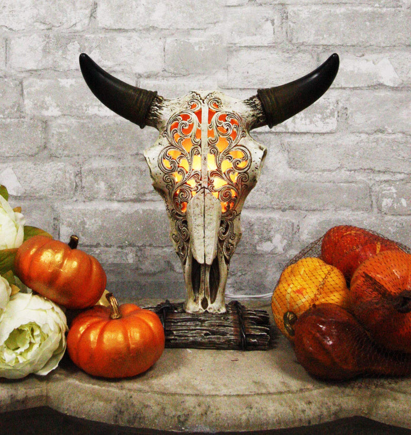 "Ebros 12.5"" Tall Southwest Aged Bone Tooled Filigree Lace Design Steer Bison Buffalo Bull Cow Horned Skull Head Night Light Lamp Centerpiece Side Table Decor Statue Skulls Western Accent Lighting"