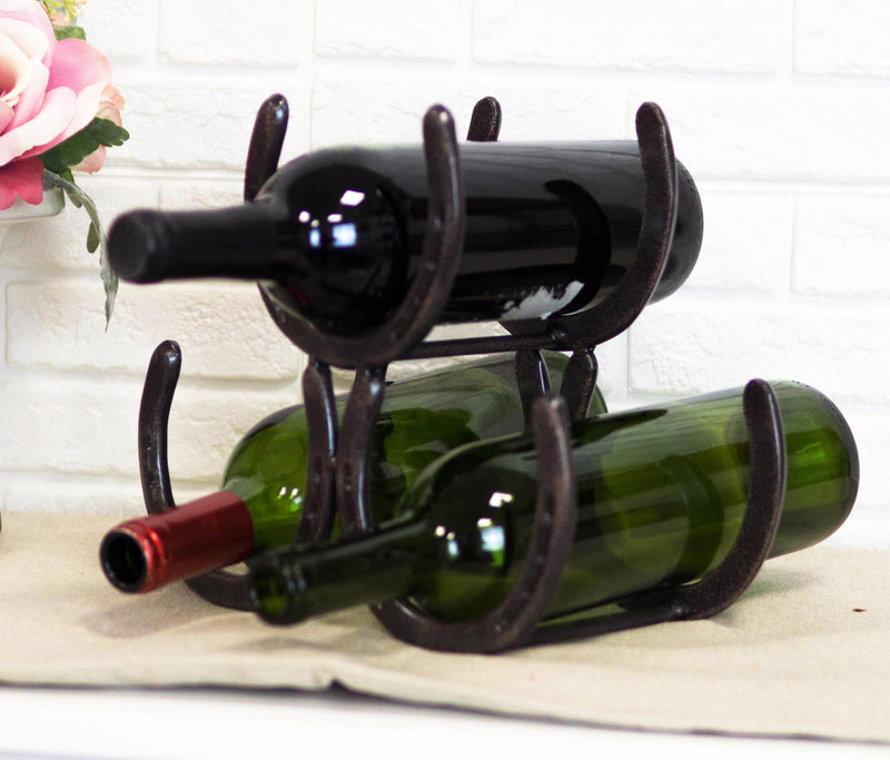Large Cast Iron Rustic Farmhouse Stacked Horseshoes 3 Bottles Wine Holder Racks
