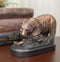 Woodlands Grizzly Bear By River Rock Catching Fish Bronze Electroplated Figurine