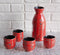 Japanese 12oz Ceramic Red Calligraphy of Fortune Sake Set Flask With Four Cups