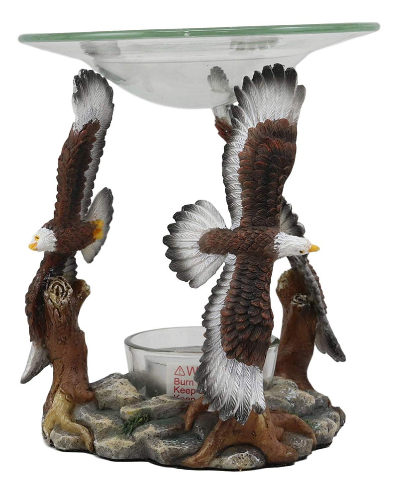 Ebros Wildlife Aerial King of The Sky Soaring Trinity Bald Eagles Oil Warmer Or Wax Tart Burner Aroma Scent Diffuser Tea Light Candle Holder Statue USA Patriotic Eagle Decorative Figurine