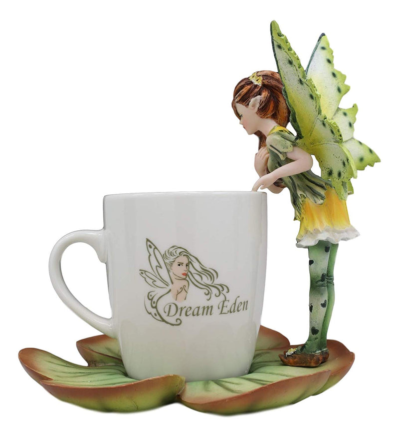 Ebros Fantasy Pixie Beverage Teacup Fairy Standing On Flower Saucer Display Stand Holder Statue with Dream Eden Coffee Mug Set for Whimsical Tea Party Decor Accent of Fairies Nymphs Pixies (Green)