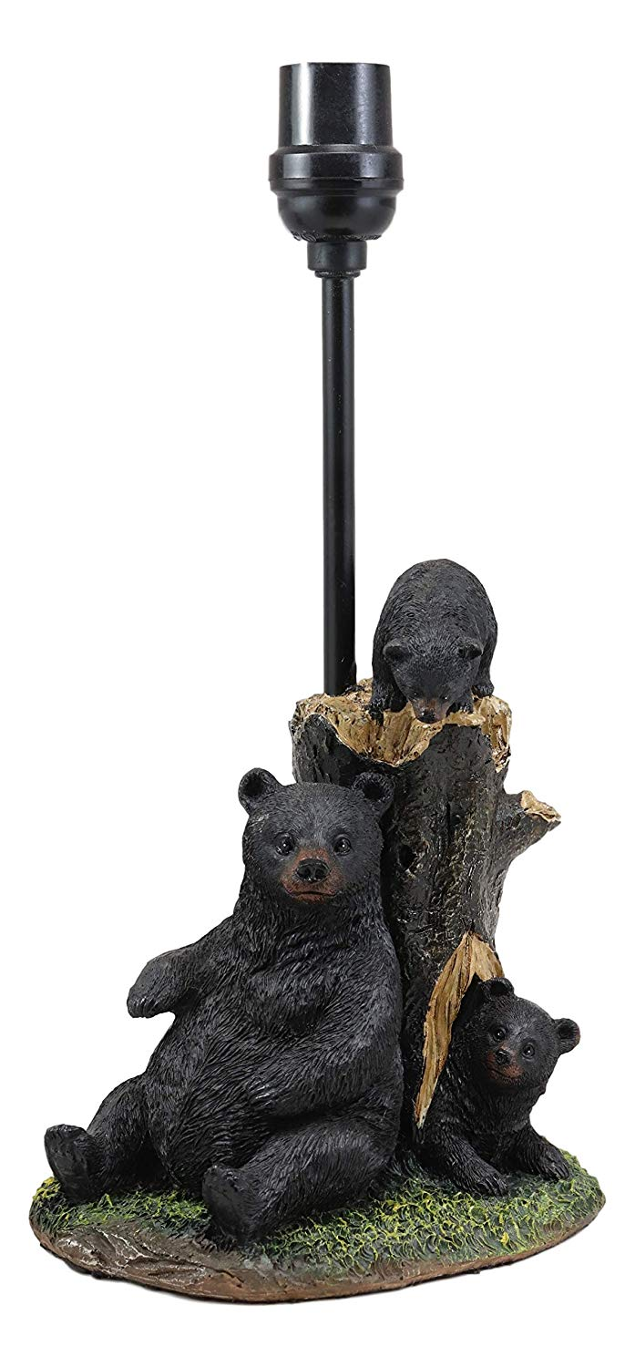 "Ebros Whimsical Rustic Black Momma Bear with Cubs Playing Hide and Seek by A Tree Table Lamp Statue with Shade 18.5""High Mountain Wildlife Woodland Cabin Lodge Decor Forest Bears Desktop Lamps"