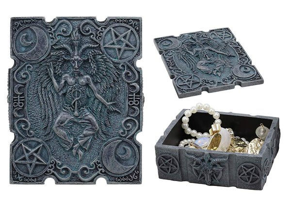"Ebros 4.5"" Long Satanic Sabbatic Goat Baphomet with Crescent Moons and Pentagram Trinket Decorative Box Church of Satan Small Jewelry Keepsake Altar Items Storage"