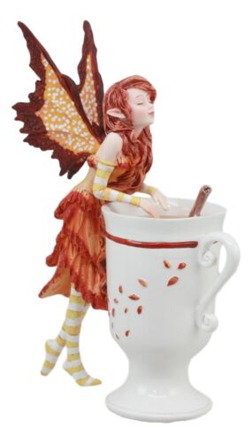 "Amy Brown Autumn Apple Cider Cinnamon Tea Fairy Statue 6.25""Tall Tea Cup Fairy - Atlantic Collectibles"