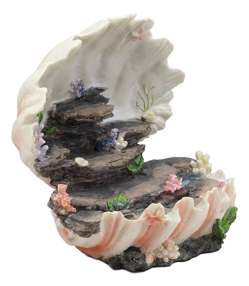 "Ebros 12.25"" Wide Colorful Nautical Ocean Giant Clam Shell of The Coral Reefs Miniature Mermaids Display Stand Statue Fantasy Mermaid Mergirls"