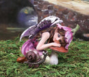 "Pink Lily Fairy with Toadstool Mushroom and Snail Figurine 3.25""H Faerie Garden"