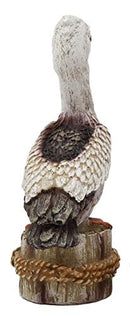 "Ebros Gift 4.75"" Tall Small Ocean Marine Beach Coastal Great White Pelican Bird Perching On Getty Post Statue Home Decor Birds Pelicans Nature As Centerpiece Decorative Sculpture Figurine (1)"