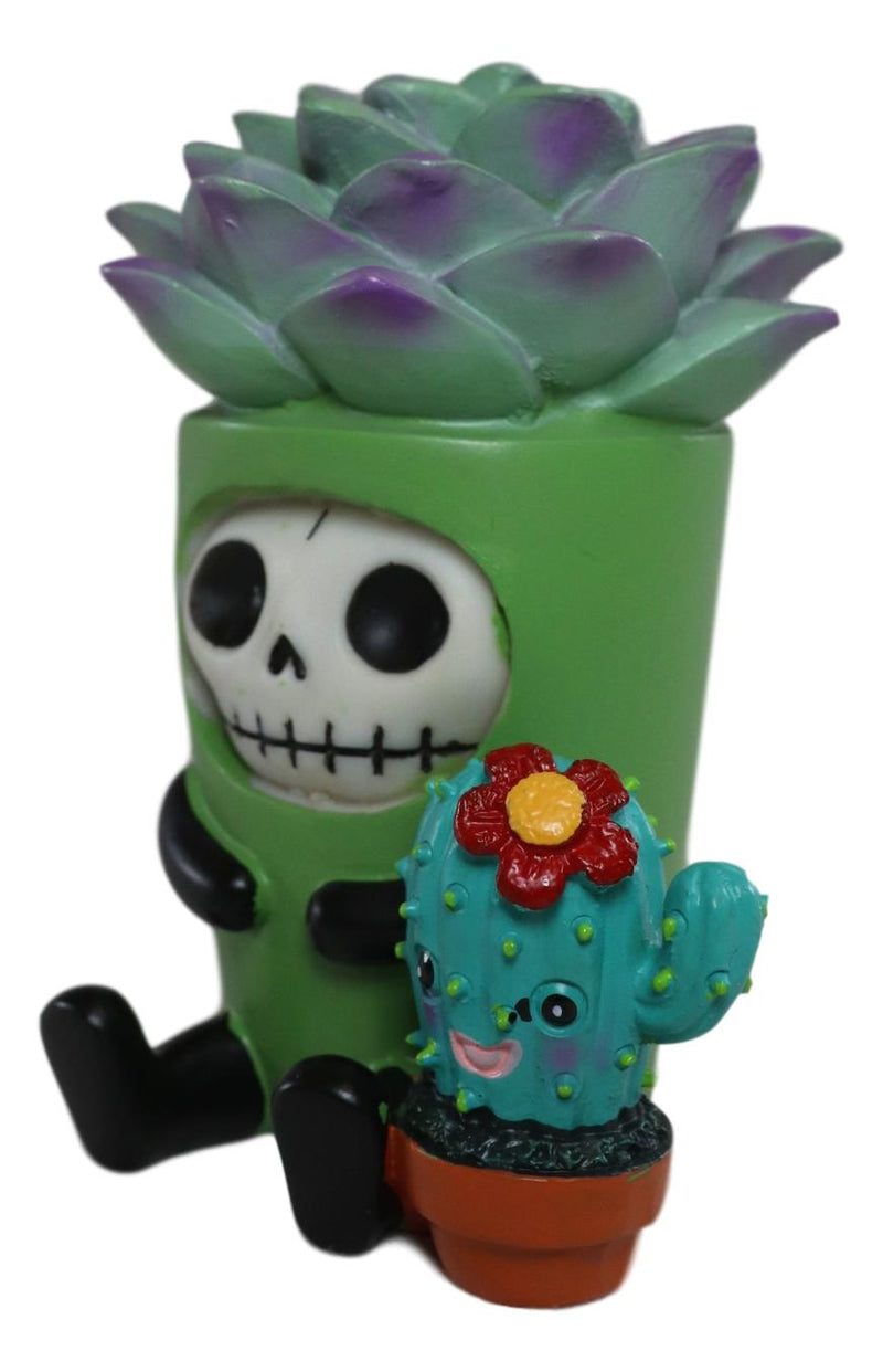 Furry Bones Echy The Succulent Plant Pot With Flowering Cactus Skeleton Figurine
