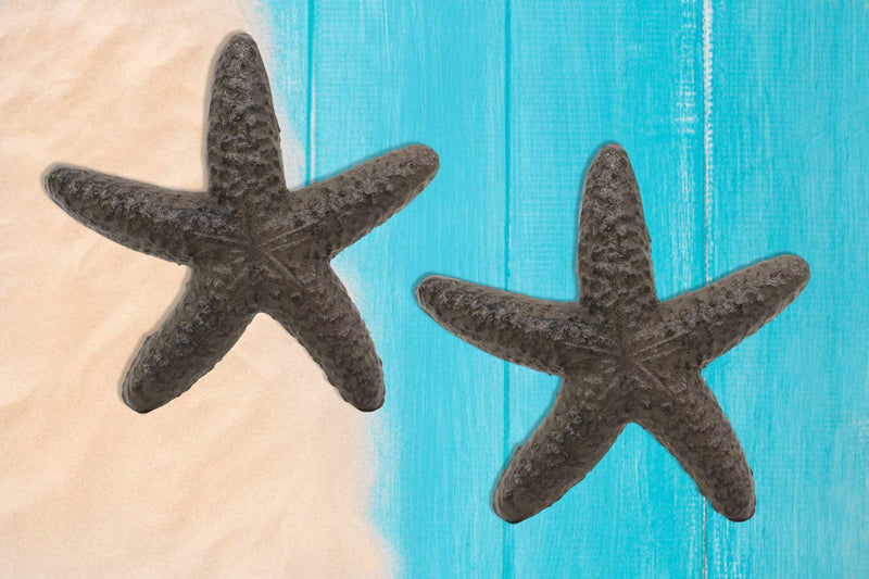 "Ebros Cast Iron Ocean Coral Sea Star Shell Starfish Decorative Accent Statue in Rustic Bronze Finish 4.5"" Wide Nautical Coastal Themed Decor for Wedding Beach Party Home Decorations DIY Crafts (2)"