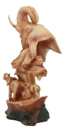 "Ebros Wildlife Elephant Bust Statue 12"" Tall Faux Wood Resin Wildlife Safari Elephant Family Migration Scene Figurine"