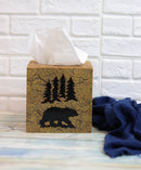 Rustic Western Black Bear Pine Trees Forest Silhouette Tissue Box Cover Holder