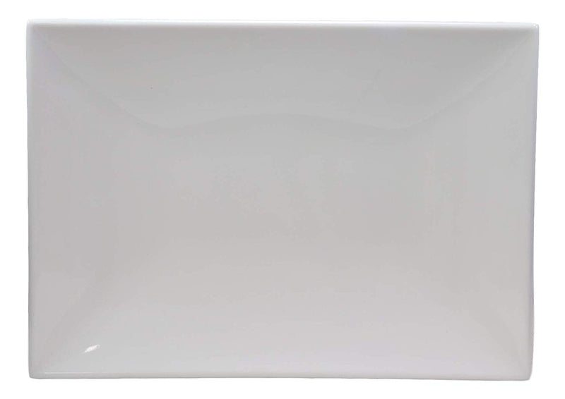 "Ebros 11.5""W White Large Rectangular Modern Serving Plate or Dish SET OF 6 - Ebros Gift"