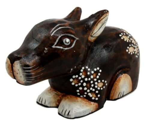 "Balinese Wood Handicrafts Crouching Bunny Rabbit With Floral Tattoo Figurine 6""L"