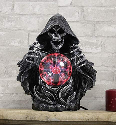 "Ebros 11.25"" H Gothic Alchemy Arch Evil Grim Reaper Skeleton Invoking Death Statue Electric Plasma Scrying Glass Ball Lamp AC Powered Flashing Lights Party Accent Home Decor - Ebros Gift"