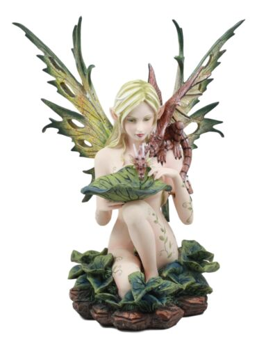 "Large Nude Tribal Forest Fairy Feeding Dragon Statue 13""Tall Fantasy Fae Pixie"