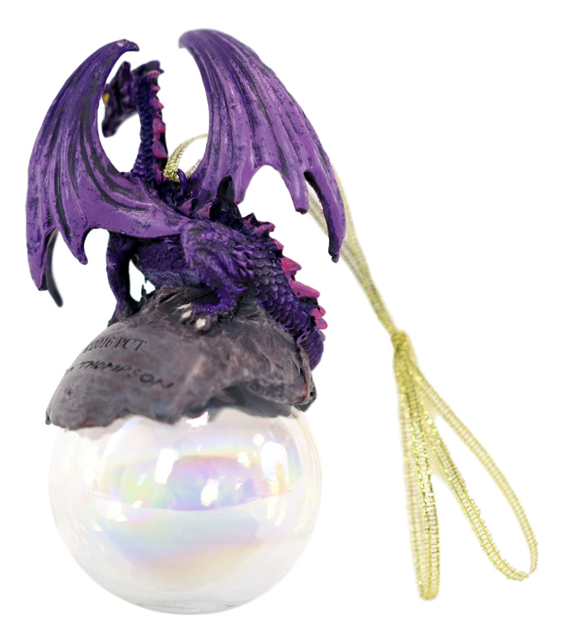 "Ruth Thompson Hoarfrost Purple Dragon On Pearl Glass Ball Ornament Figurine 5""H"