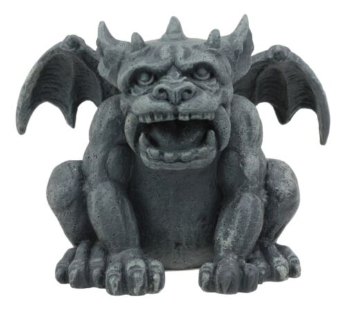"Ebros Gothic Fido The Fat Sabre Tooth Tiger Gargoyle Figurine Small Mythical Fantasy Decor Statue 3.5"" Tall As Talisman of Protection Fairy Garden Accessory DIY Renaissance Or Medieval Collectible"
