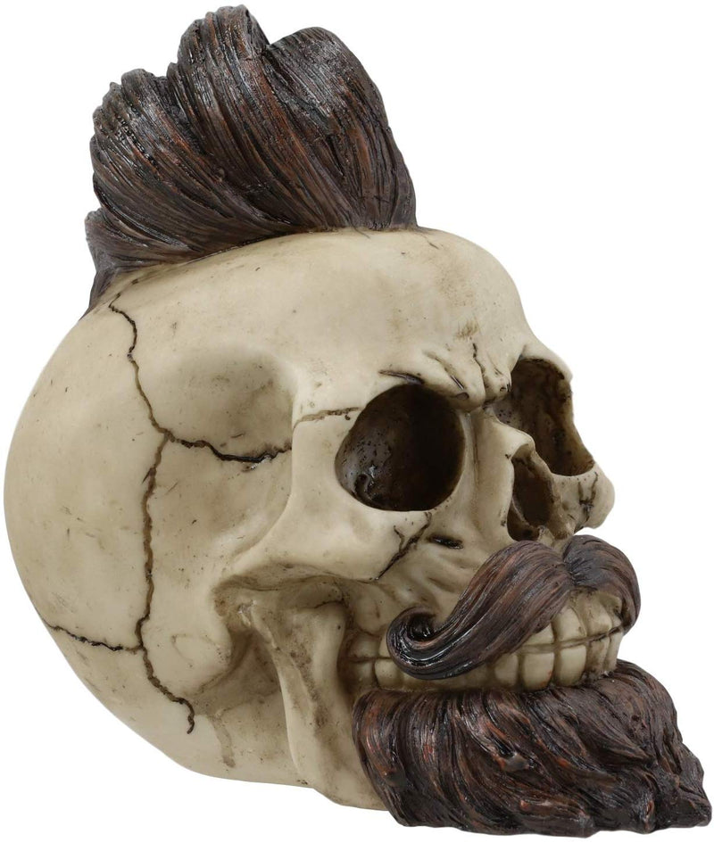 "Ebros Bearded Skull with Stylish Haircut and Curled Mustache Figurine 7"" Long"