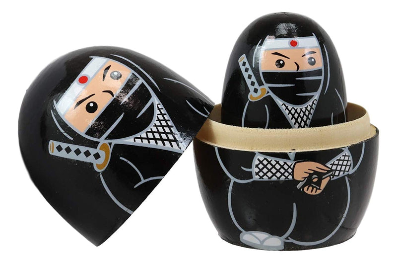 Ebros Black Japanese Ninja Wooden Toy Stacking Nesting Dolls 5 Pieces Matryoshka