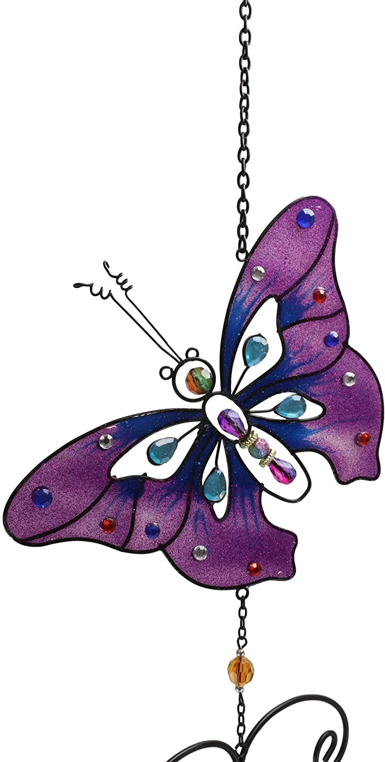 "Ebros Stained Glass Purple Butterfly with Gems and Copper Wind Chime 34"" Long"