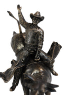 Rustic Western Wild Rodeo Bull Rider Cowboy On Bucking Bull Decorative Statue