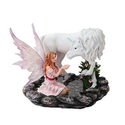 Ebros Fairyland 7 Inch Pink Winged Fairy with Unicorn on Pond Statue Figurine