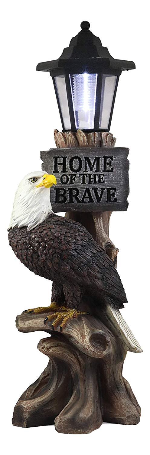 Ebros 'Home of The Brave' Patriotic Eagle Night Light Statue Solar LED Lantern