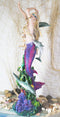 "Large Art Nouveau Nautical Iris Tail Mermaid Swimming With Dolphins Statue 27""H"