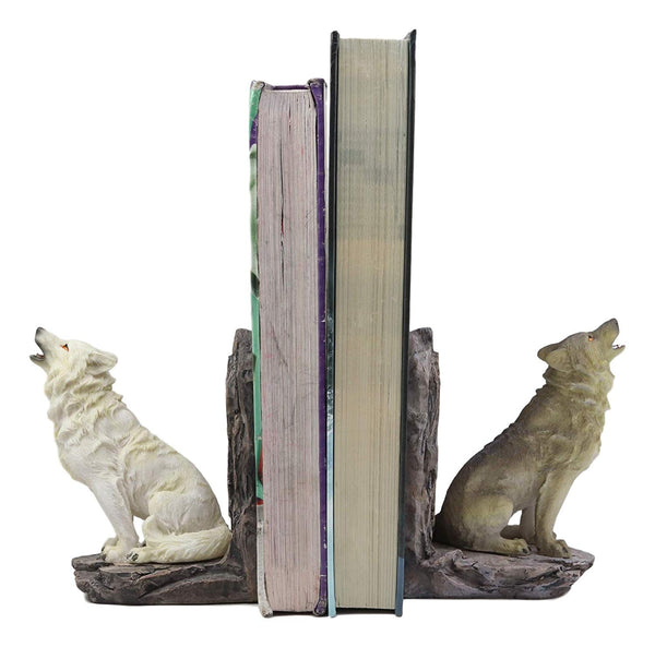 Ebros Animal Totem Spirit Howling Gray And Snow Wolves Decorative Small  Bookends Figurine Set 5 5