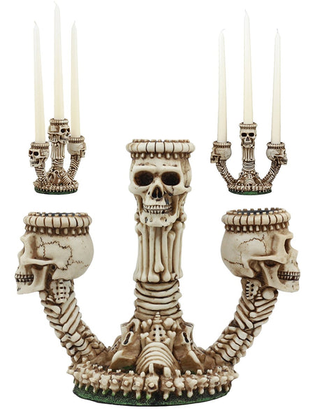 Ebros Gothic Trio Ossuary Graveyard Skulls And Skeleton Bones Candelabra Candle holder Statue Wicked Skeletal Altar Shrine Figurine