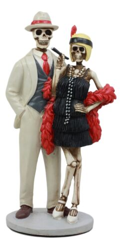 "Ebros Day Of The Dead Roaring Twenties Great Gatsby Skeleton Flapper Couple Figurine 8.5"" H"
