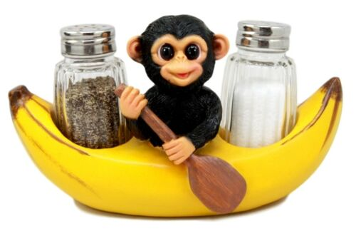 Baby Monkey Rowing In Banana Boat Salt & Pepper Shakers Holder Figurine Set - Atlantic Collectibles