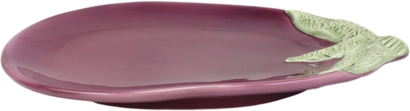 "Ebros 11"" Long Ceramic Eggplant Brinjal Fruit Shaped Serving Plate Dish 1 PIECE - Ebros Gift"