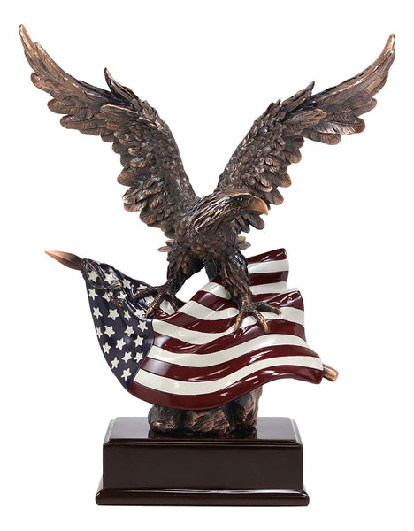 "Ebros Large 14.5"" Tall Wings of Glory Broad Winged Bald Eagle Perching On Star Spangled Banner American Flag Trophy Statue Bronze Electroplated Resin Figurine With Base USA Patriotic Home Office Decor"