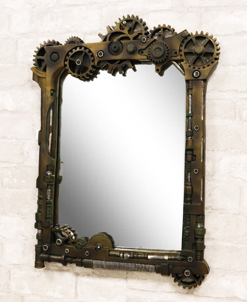 "Steampunk Industrial Gears Pipes Bolts Time Travel Wall Decorative Mirror 22""H"