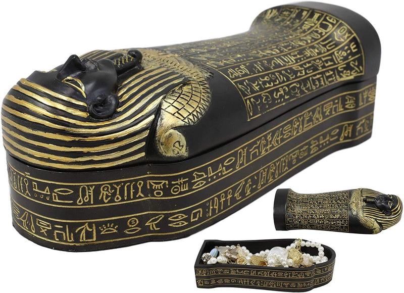 "Ebros Black and Gold Egyptian High Priest Horkhebit of Saqqara Sarcophagus Coffin Decorative Box Figurine 7.25"" Long Egyptian Temple Tombstone Historical Trinket Jewelry Stash Boxes Decor"