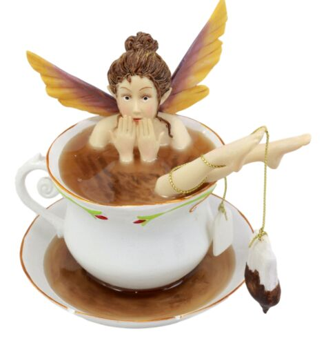 Magical Encounters Shocked Fairy Bathing In Tea Cup Figurine Fantasy Collectible