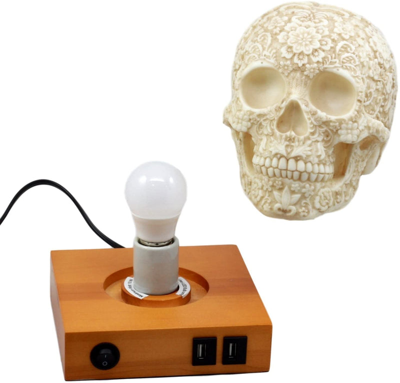 Ebros Day of The Dead Floral Skull Side Table LED Night Light Statue With Two USB Charging Dock On Wood Base