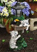 "Ebros Colorful Jungle Frolick Climbing Tiger Cubs Chasing Toucan Bird with Welcome Sign and LED Solar Lantern Outpost Statue 18.5"" Tall Path Lighter Patio Garden Home Decor Figurine (White Siberian)"
