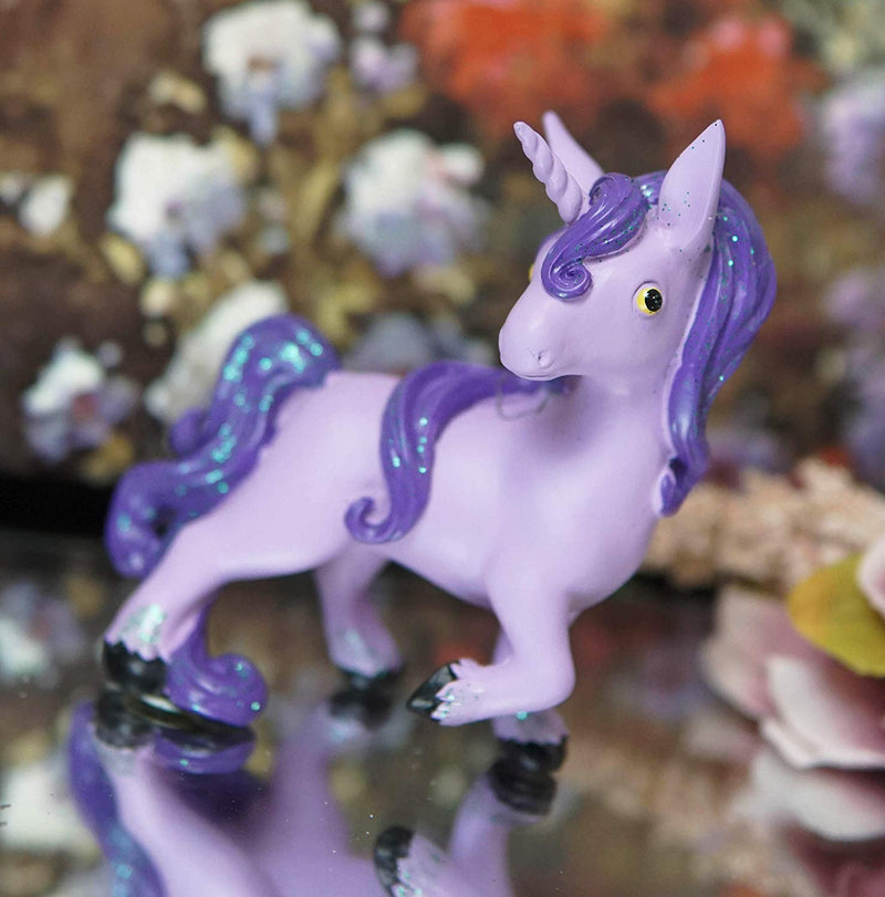 Ebros Whimsical My Little Unicorn Horse Figurine in Pastel Colors (Purple Glow)