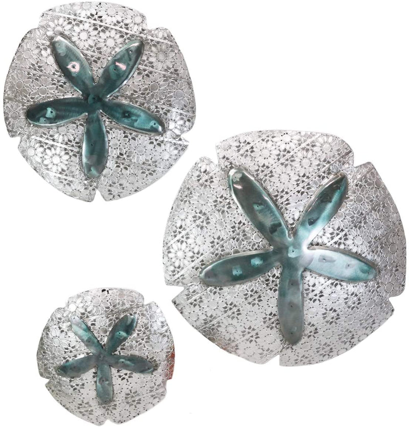 Ebros Silver Sand Dollar 3 Piece Large To Small Size Aluminum Metal Wall Decor