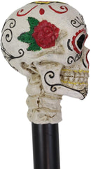 White Colorful Day Of The Dead Skull Prop Accessory Walking Cane For Parties