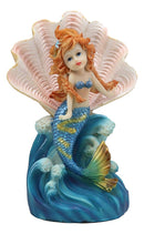 "Ebros 7.25"" Tall Colorful Nautical Ocean Mermaid Mergirl with Giant Shell and Blue Tail Rising Above The Waves Statue Fantasy Mermaids Mergirls Sirens of The Seas Figurines"