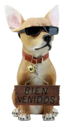 Ebros Gift Que Paso Summer Sun Tanning Chihuahua Dog Statue Carefree Puppy with Cool Shades Welcome Greeter Figurine