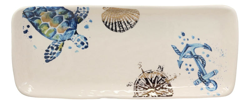 Marine Sea Turtle Compass Anchor & Shell Ceramic Serving Platter Trays Set Of 2