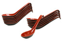 Red And Black Melamine Ladle Style Soup Spoons With Hook Ends 1oz Set Of 12