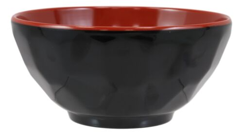 Contemporary Ridged Red Black Melamine Small 8oz Rice Miso Soup Bowl Set Of 12