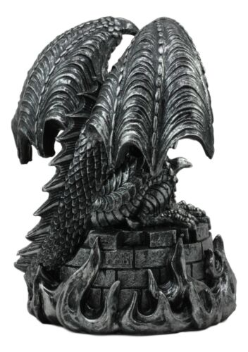 "Ebros Aztec Quetzalcoatl Merciless Dragon with Human Skull Sacrifice Statue 10"" Tall Fantasy Dragon Beast Sculptural Resin Home Decor"