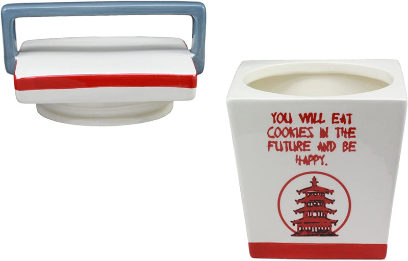 "Ebros Ceramic Chinese Food Take Out Box Cookie Jar With Seal Tight Lid 8.5""Tall"